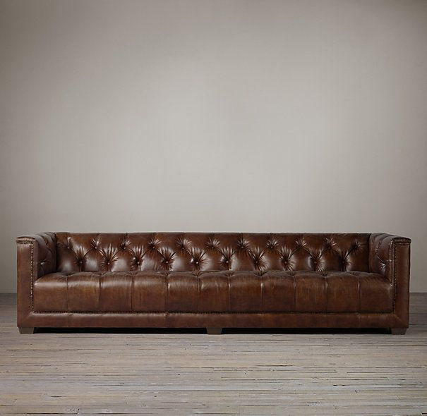 Savoy Sofa From Restoration Hardware In Distressed Ebony Leather For The Study A Modern Take On Chesterfield
