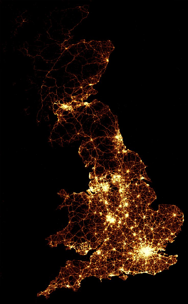 Image showing England,, Scotland and Wales's location of 2,386750 road crashes from 1999 to 2010. Each light point is an individual collision which resulted in a casualty. The intensity of brightness shows where collisions are more frequent