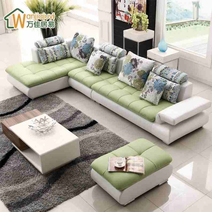 Modern minimalist small apartment imports cowhide leather for Leather sofa and loveseat combo