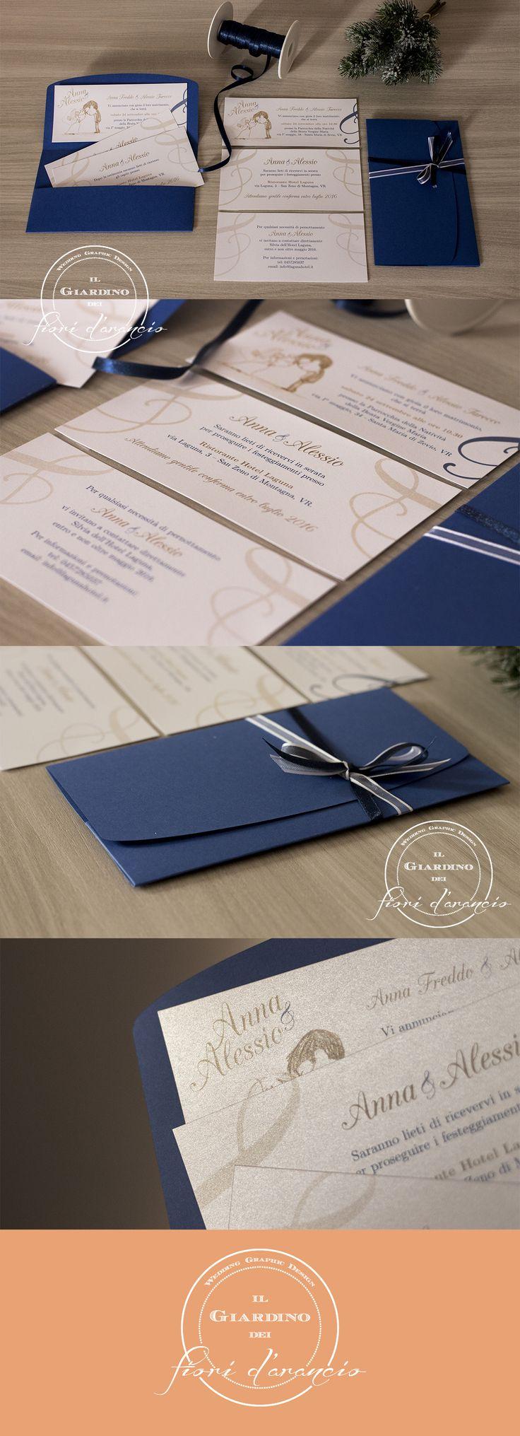 Wedding Invitation Design - Partecipazioni matrimonio personalizzate - Carta FAVINI Burano Blu di Prussia & Majestic Marble White - Elegant, romantic