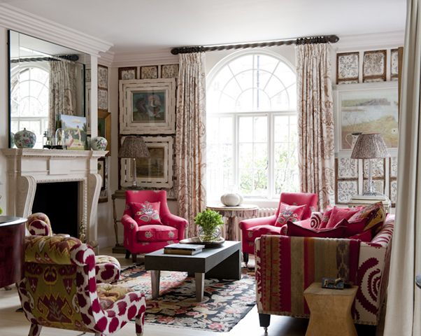 Room of the Day ~ would love to be in this cheerful funky room in London designed by Kit Kemp 4.11.2013