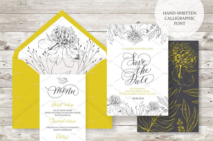 Wedding set. Calligrafy, graphics. by OlgaAlekseenko on @creativemarket