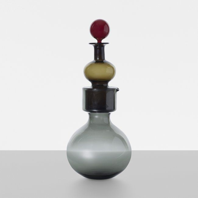 Kaj Franck Kremlin bells double decanter Nuutajarvi-Notsjo Finland, 1961 glass, cork