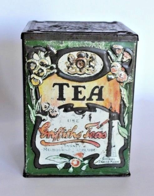 Collectable GRIFFITHS Tea Tin Iconic Australian Kitchenalia