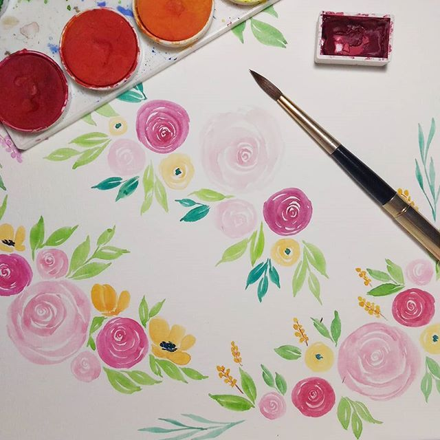 Kebiasaan Lgsg Bikin Rangkaian Bunga Tanpa Sketsa Ketika Harus Buat Satu Persatu Komponennya Secara Terpisah Ternyata Diy Watercolor Art Watercolour Tutorials