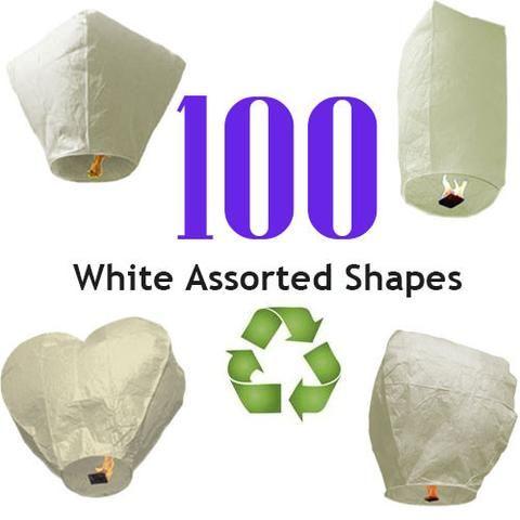 100 White Sky Lanterns - Eco Friendly and Biodegradable Sky Lanterns