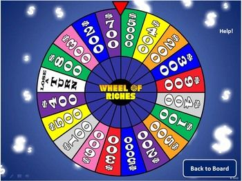 Create your own whole-class review game with this Wheel of Riches PowerPoint template