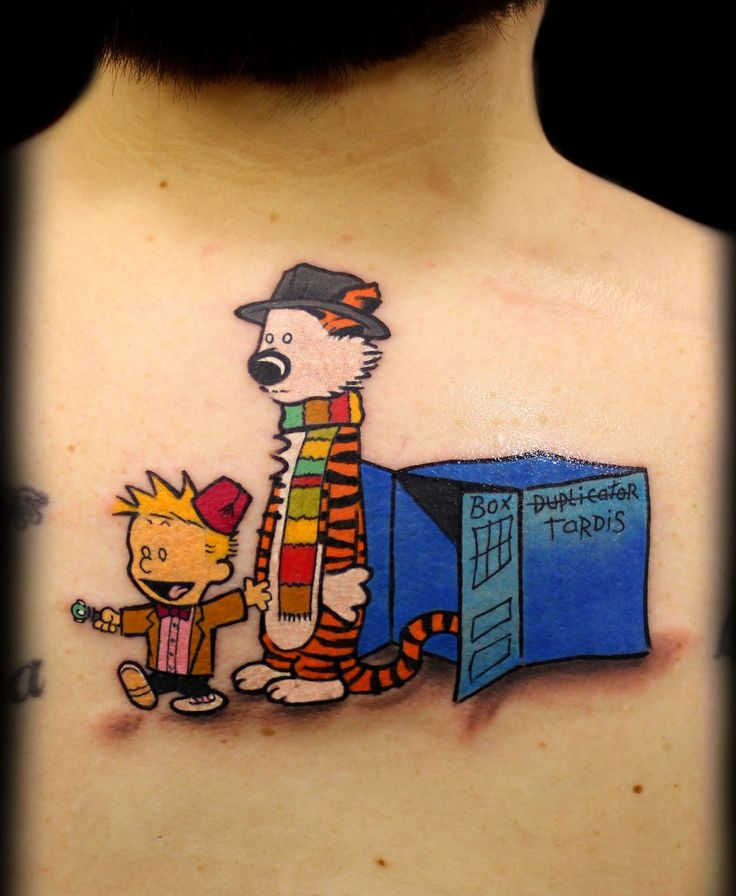 Calvin and Hobbes Doctor Who mashup tattoo by Chris 51 of Area 51 Tattoo, Springfield, OR & Epic Ink TV A&E