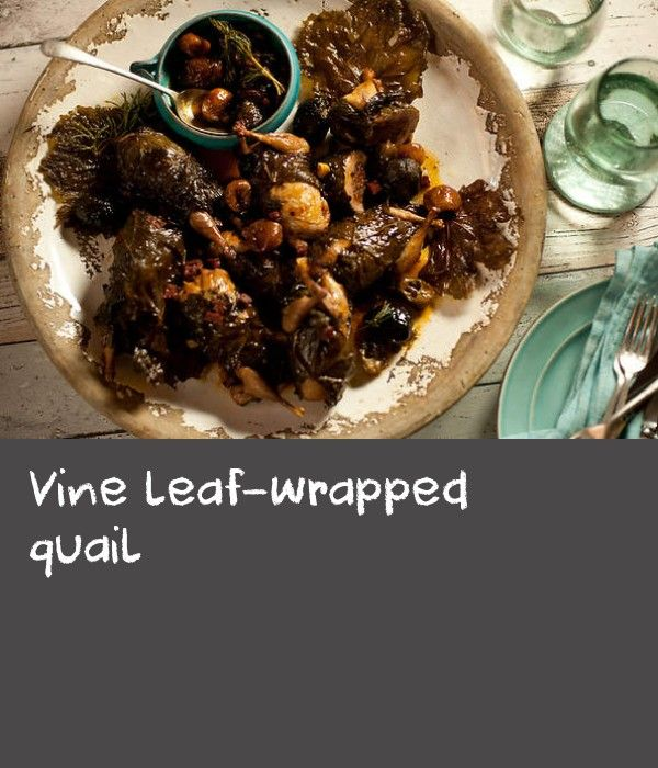 Vine leaf-wrapped quail | Sucuk on its own can be overpowering so it's great to pair it with something sweet. I found candied immature walnuts in the Egyptian Bazaar and thought it would be a great combination with the spicy sausage-stuffed quail. You can buy candied walnuts and figs in Middle Eastern grocers here, but if you want to make your own, you'll need to start this recipe a couple of weeks ahead of time to give them time to shine.