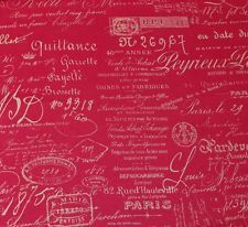 french script fabric by the yard  FRENCH SCRIPT FUCHSIA PINK DOCUMENT DESIGNER FABRIC BY THE 26 best images on Pinterest Quilting Canvases and