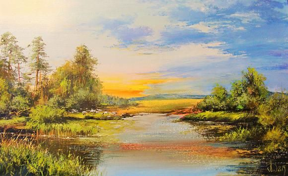 Летний пейзаж, автор Леднев Александр Алексеевич. Артклуб Gallerix