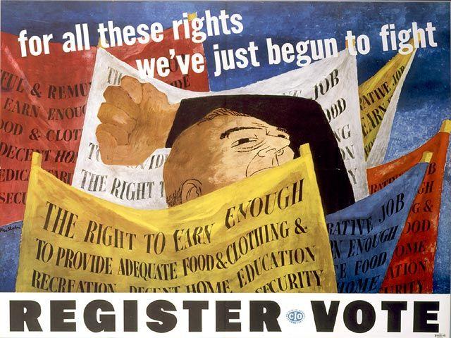 Social realism - Ben Shahn, Register to Vote, Congress of Industrial Organizations (CIO) poster, 1946