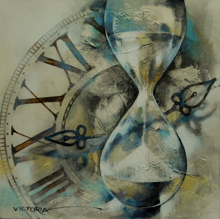 """Another wonderful painting of Victoria Stoyanova- clock with hourglass- symbol runing life. Symbolic picture with great value - one of the four in the series - clock.  This is art!. Now you can buy it as print  done with the most modern technology , called -""""Giclee Procedure"""".- only for 15 Euro. The delivery is from Germany."""