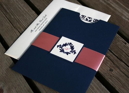 Navy & Pink invitations, monogrammed