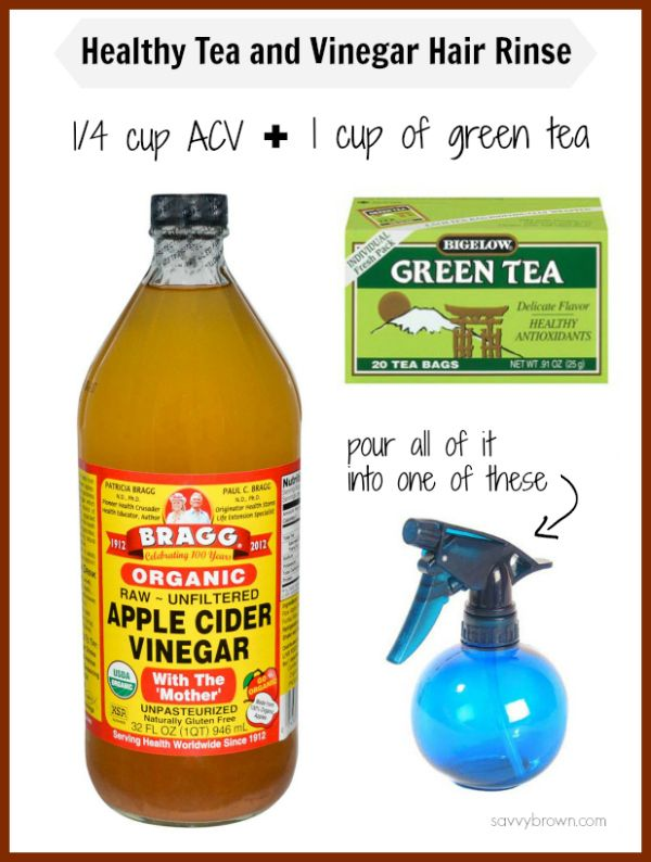 Apple Cider Vinegar and Green Tea Hair Rinse! This stuff is great for clarifying your hair and cleaning your scalp.