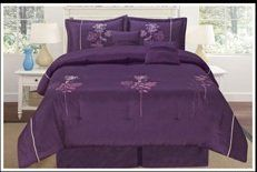 """Luxurious Queen (90x94"""") Dark Purple Embroidery Comforter Set Bedding in a Bag. Purple - Queen by FineHome. $69.99. backing 100% ployester. easy machine wash. 100% polyester 75g/sqm bamboo nod material. fill in 100% ployester 250g/sqm. dark purple embroidery comforter set. Please find comforter set in Queen King and matching window curtain in our Amazon Store.  Purple comforter set Queen Asin Number: B005WD7J5E   Purple comforter set King Asin Number: B005WD88DQ  Purple window ..."""