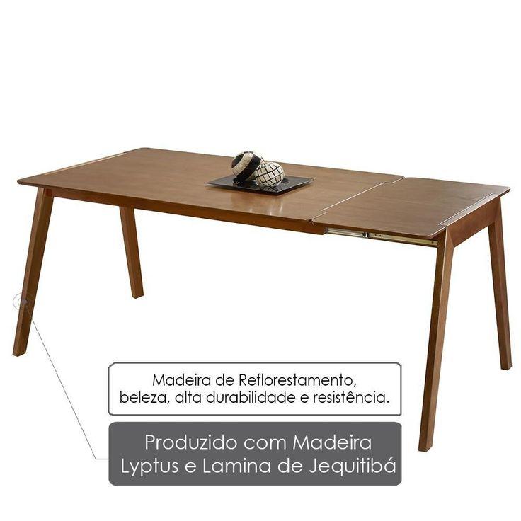 Mesa de Jantar Extensível Primer 120cm/ 160cm - Acabamento Verniz Poliuretano - Madeira Lyptus/Jequitiba  - Mesa de Jantar no CasasBahia.com.br