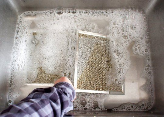 how to clean range hood filter with ammonia