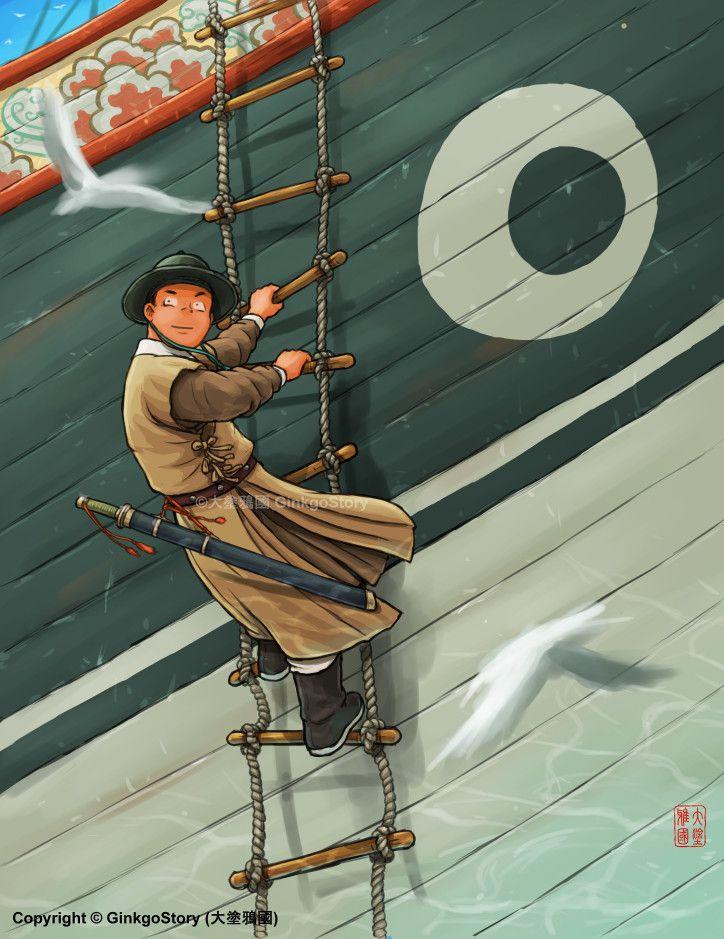 Admiral Zheng He's troop in Malacca, Ginkgo Story on ArtStation at https://www.artstation.com/artwork/60V1w