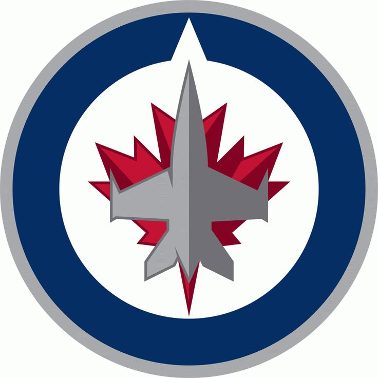 Winnipeg Jets Primary Logo (2012) - A grey jet flying north inside a blue and grey circle on a red maple leaf. Notch in blue circle indicat...
