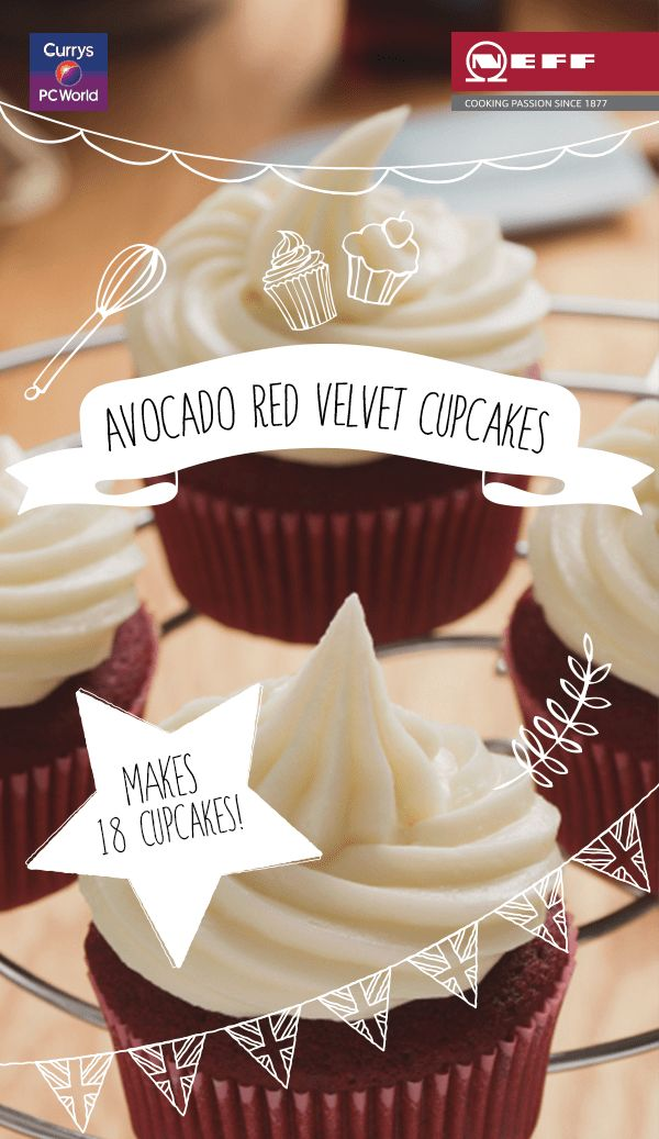 Avocado Red Velvet Cupcakes? Yep - the world's coolest fruit makes a healthier addition to your favourite bake! Here's how to make them with the Neff Slide & Hide oven. @biybyneff