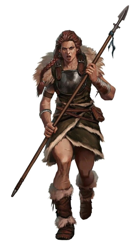 Female Human Spear Barbarian - Pathfinder PFRPG DND D&D 3.5 5th ed d20 fantasy
