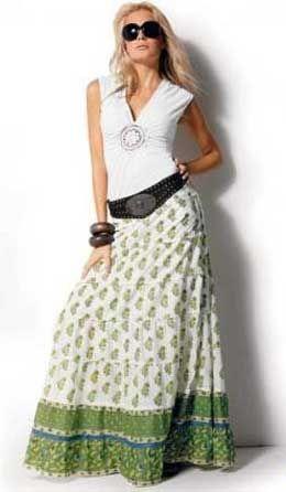 Длинная юбка выкройка. Длинные юбки снова вернулись в моду. И это еще один повод сшить такую длинную юбку к летнему сезону. Мы рекомендуем шить длинную юбку из тонких летних тканей...