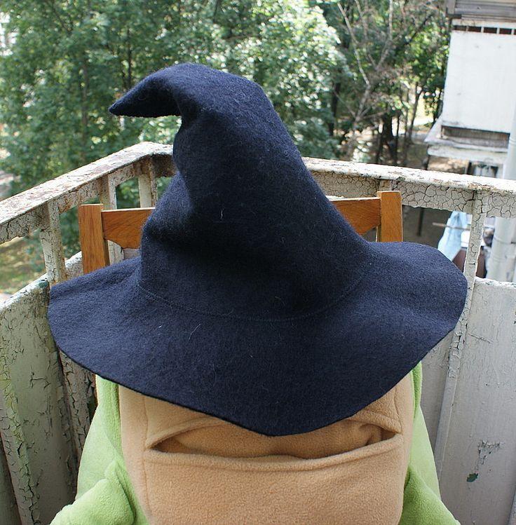 Купить Банная шапка. Ведьмина шляпа - чёрный, банная шапка, ведьма, шляпа, ведьмочка