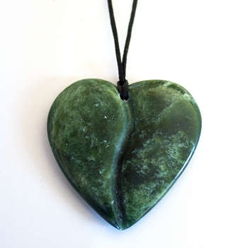 New Zealand Greenstone Heart Pendant