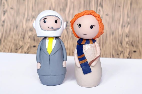 Astronaut groom and ravenclaw bride champagne dress wedding Cake topper Harry Potter geek wedding Comic Book, Geeky, Nerd