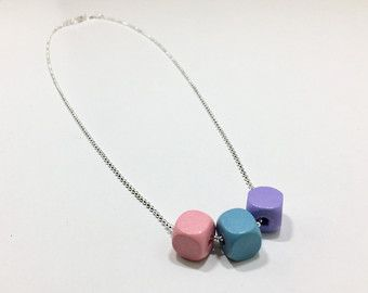 Pastel wood block necklace wood necklace by EveryLittleRing