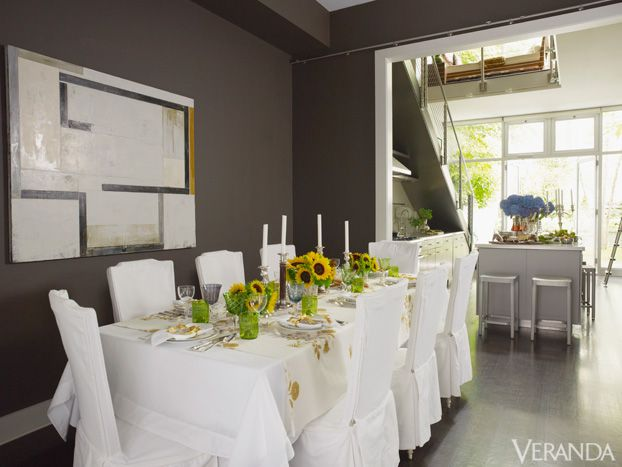 Sleek New York Brownstone White Dining TableDining ChairsDining RoomsDining Room DesignContemporary