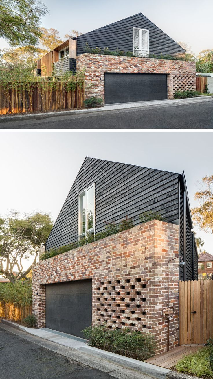 Perforated and recycled brick make up this impressive design of this Australian home with a garage that is surrounded by recycled brick.