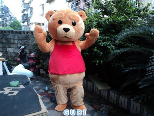 High quality cute teddy bear cartoon mascot costume Halloween party adult size