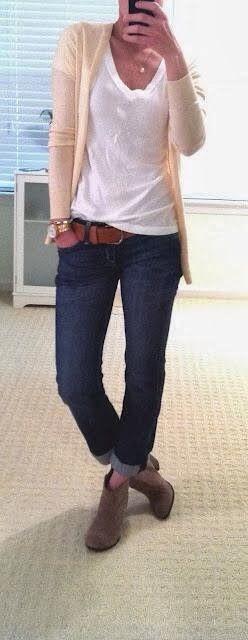 Women Lady Fashion: Adorable Work Outfit - Cardigan, White Blouse, Jea...