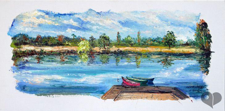 Art Lover Place - Francueil : canoës (Peinture) par Michel Hamelin