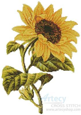 Artecy Cross Stitch. Golden Sunflower Cross Stitch Pattern to print online.