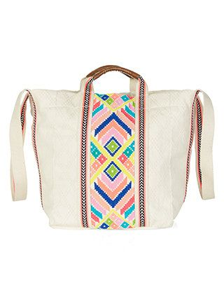 Multi Handle Embroidered Shopper Bag
