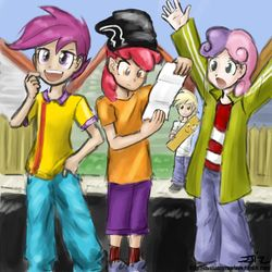 Size: 850x850 | Tagged: apple bloom, artist:johnjoseco, artist:michos, crossover, dinky hooves, ed, edd, eddy, ed edd n eddy, humanized, parody, plank, safe, scootaloo, sweetie belle