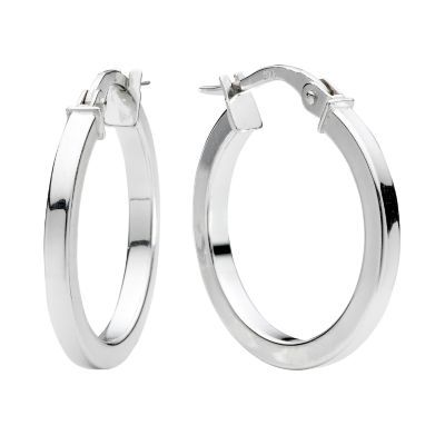 9ct white gold plain round Creole hoop earrings - Ernest Jones