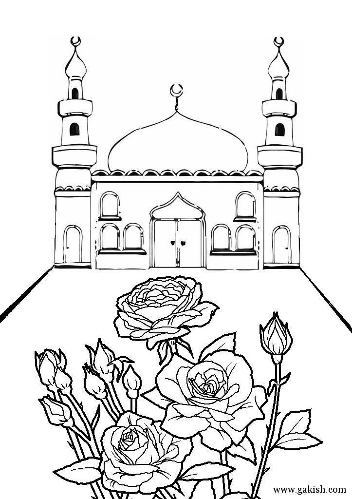 This page has a bunch of printable mosques and a few work sheets, i dont know the language but they are easy to just print off and color