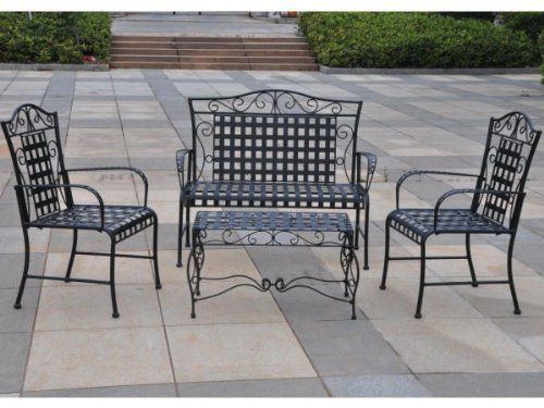 Mandalay Settee Set , Mandalay Iron Loveseat, Coffee Table And 2 Chairs   Wrought  Iron Design   Antique Black Finish   Great For Porch Or Patio ...