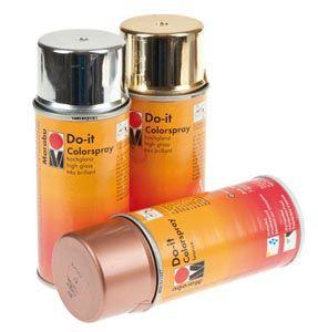 ''PannonColor'' Marabu Do-it fényes festékspray 150 ml: Magasan fénylő, fémhatást keltő, gyorsn száradó műgyantalakk, melyet papír, fa, fém, kerámia, üveg, oldószer ellenálló műanyag felületekre lehet alkallmazni.