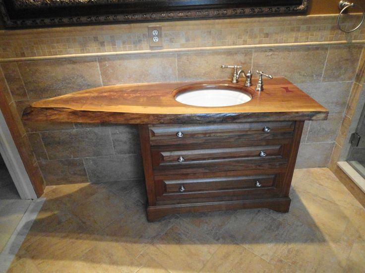 Image On Image detail for Custom Slab Top Walnut Vanity by Oak Mountain Custom Woodwork