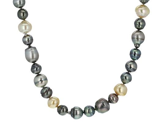8-14mm Cultured Tahitian Pearl And Cultured South Sea Pearl Rhodium Ov