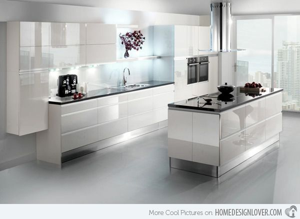 glossy kitchen design with light gray floor