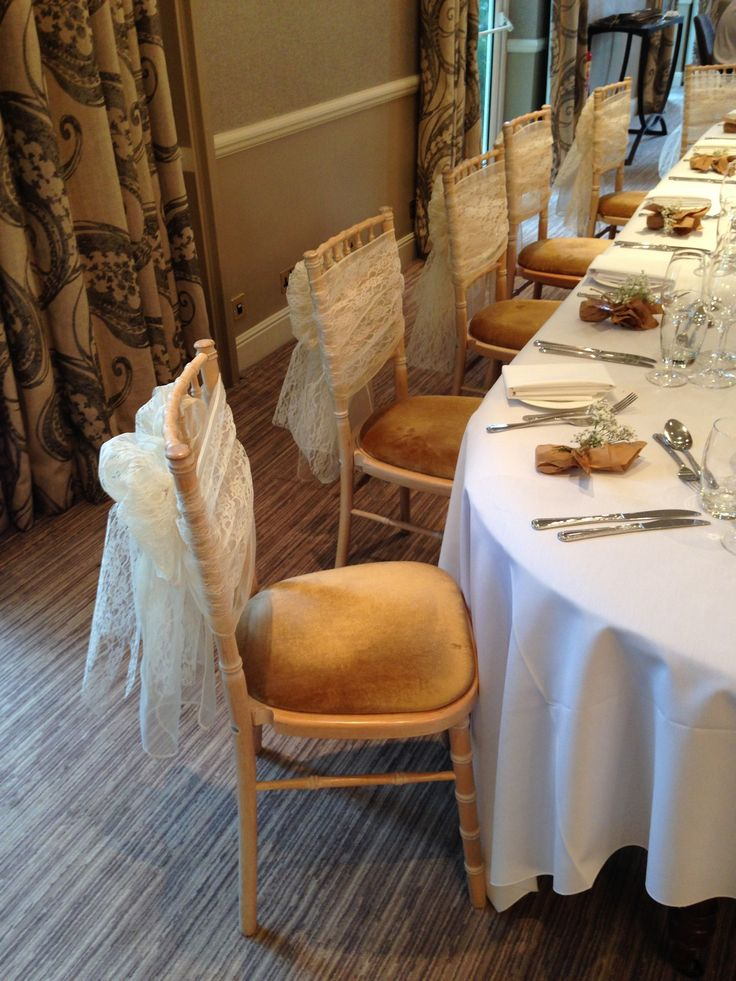 Lace & ivory organza sashes at The Vineyard, Stockcross by Simply Bows and Chair Covers