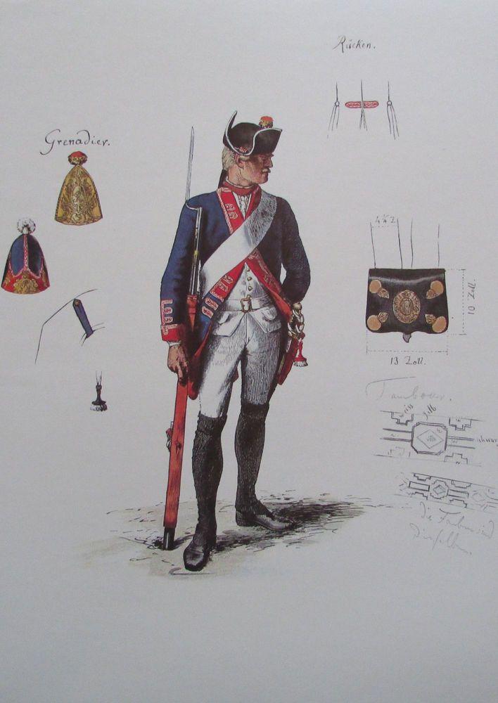 Musketier Regiment von Schwerin zu Fuß Menzel - 24x34 Faksimile 70er Uniform