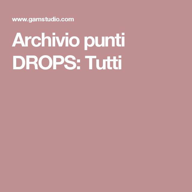 Archivio punti DROPS: Tutti
