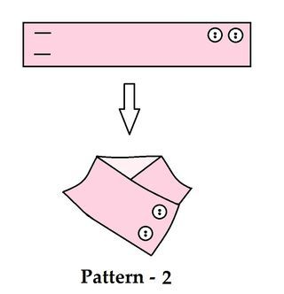 After youre done sewing the main fabric for the neck warmer its time to add the buttons. Ive attached 4 templates of the 4 neck warmers Ive made, have a look at the templates, it might give you a little idea about the patterns. For pattern 1 and 2 you can 4 buttons too, 2 in each row.